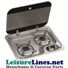 HBG 2335 2 brn hob with 12v ignition &  glass cover